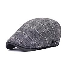 Unisex Cotton Grid Blank Newsboy Beret Hat Duckbill Golf Flat Buckle Cabbie Cap For Men Women