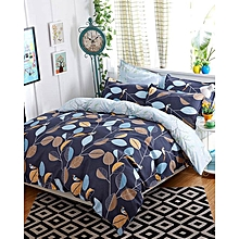 Duvet Cover Set - 6 Pieces - 5x6 -Dark blue flowered( 1 Duvet Cover, 1 Bed sheet and 4 Pillow cases)