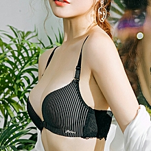 Fashion Bra Underwear Front Closure Lace Beautiful Back Bra(Black)
