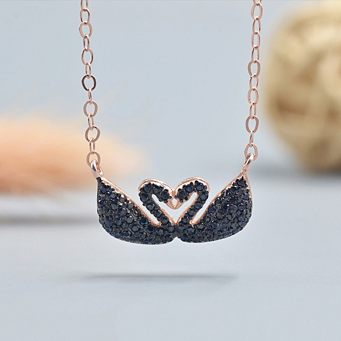 1e335810b Generic The pure silver double black swan crystal rose gold kisses s ...