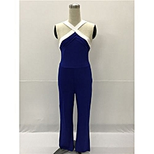 High Fashion Halter Long Jumpsuits Cross Sleeveless Bodycon Rompers Catsuits Playsuits-blue