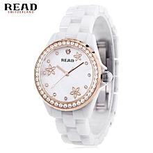 Women Quartz Watch Pearl Shell Dial 3ATM Ceramic Band Wristwatch-WHITE