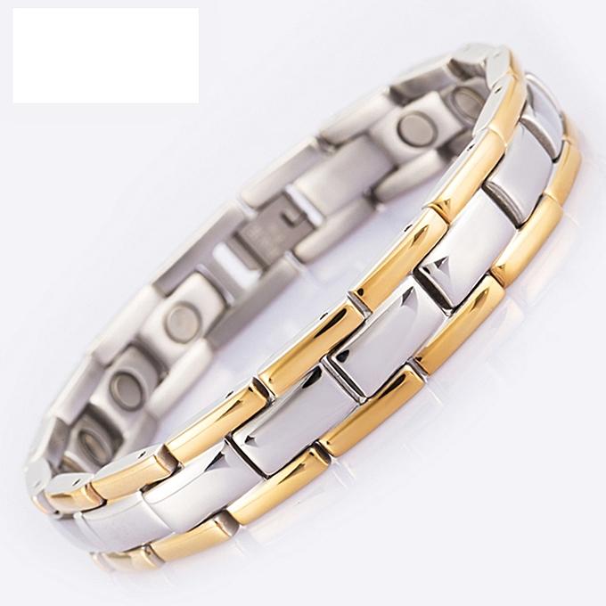 f3f5a13ba925c Great Energy Magnetic Bracelet Men Golden Chain Link 316L Stainless Steel  Bracelets Bangle