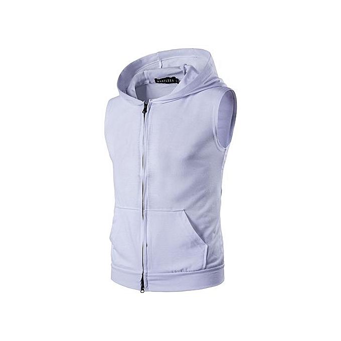 2b89d39c554c New Arrival From Yang  Men Hooded Sleeveless Oblique Zipper Cotton Man Vest  Waistcoat Sportwear Tank
