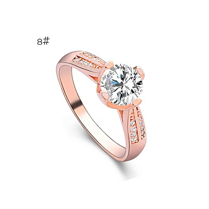 Flower Crystal Wedding Ring For Women Jewelry Accessories Rose Gold Engagem