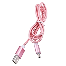 Type C Braided Data Sync Charging USB 3.1 Cable For Smartphone Rose Gold