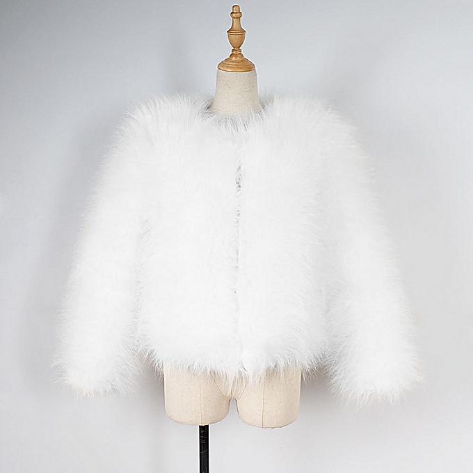 f65e95208e4 ... jiuhap store Women Faux Fur Ostrich Feather Soft Fur Coat Jacket Fluffy  Winter Xmax - white