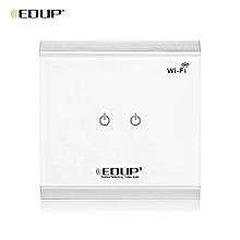 EDUP EP - 3713 Wireless WiFi Remote Enabled Light Control Power Switch 2 Gangs Switcher with Touch Panel Screen