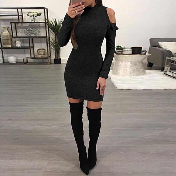 352f80344f0d Sexy Women Mini Bodycon Dress Stand Collar Long Sleeve Solid Slim Party Tight  Dress Black