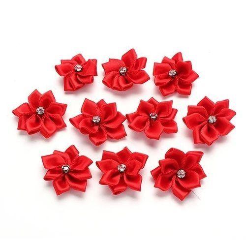 10/40 PCS Satin Ribbon Flower Appliques Rhinestone Craft DIY Wedding Trims Chic