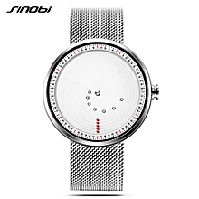 9768 Simple Men Watch Stainless Steel Strap Quartz Movement Watch Waterproof Casual Clock Wristwatch for Male