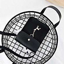 Women's Vintage Small Deer Pendant Leather Crossbody Shoulder Bag Zero Bag Black