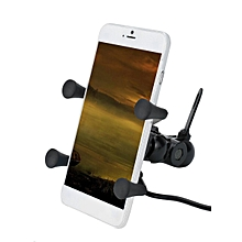 X-Shape Grip Motorcycle Phone Holder Universal Navigation Holder With USB Charger