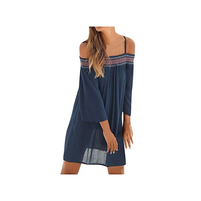 b10fc6359ce1 ... Hiaojbk Store Fashion Womens Casual Off Shoulder Long Sleeve Beach Mini  Dress Beach Dress-Navy