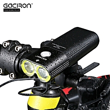 V9D-1600 USB Rechargeable Waterproof Bike Cycling Light Bicycle Front Flashlight with Remote Switch - Black