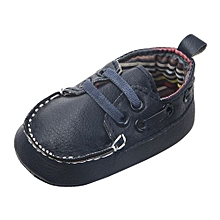 bluerdream-Newborn Infant Baby Double Soft Sole Leather Single Casual Flats Shoes- Dark Blue