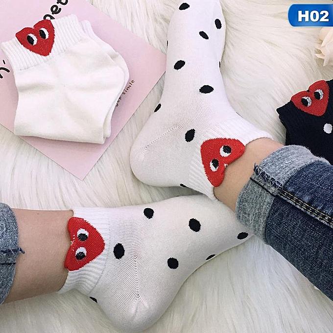 07def3dba Eleganya 1 Pair Women Cute Striped Wave Point Heart Shape Printing Warm  Socks