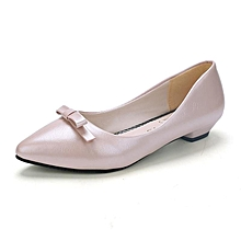 Low Heels Shallow Lady Office Pumps Pointed Butterfly-knot Slip On Women Shoes (Beige)