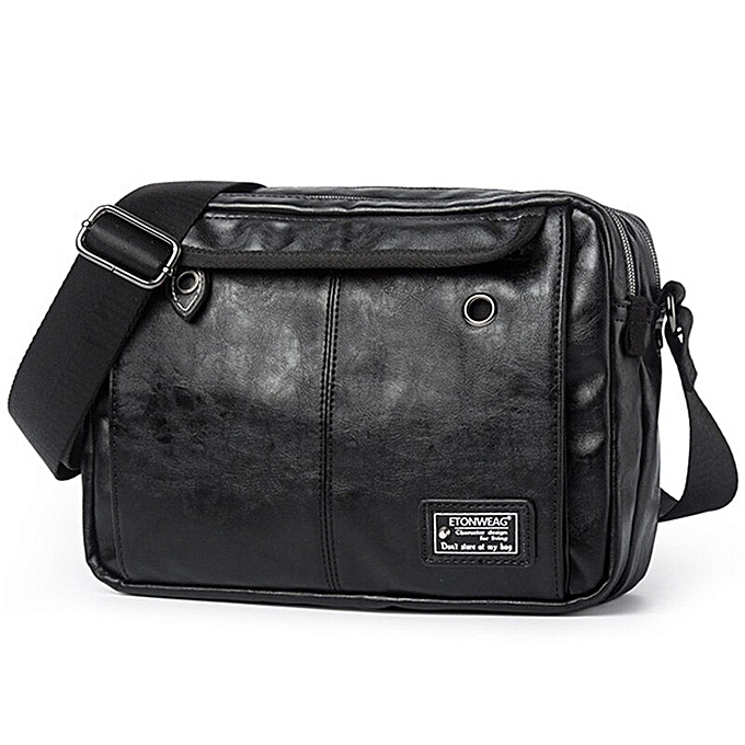 57cf09b26050 Luxury Brand Men Bag Leather Casual Crossbody Shoulder Bags For Men  Designer Vintage Small Flap Travel Messenger Bag Male Bolsas(Black)