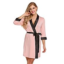 37db922b12 Women  039 s Soft Spa Robe Collar Lightweight 3 4 Sleeve Sleepwear (