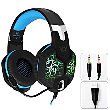 KOTION EACH G1100 3.5mm Vibration Function Professional Gaming Headphone Games Headset with Mic Stereo Bass Breathing LED Light for PC Gamer - BLACK AND BLUE