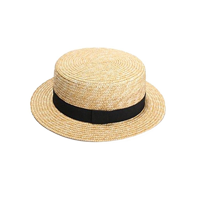 f515f132c6a Generic Women Straw Hat Handmade Knitted Summer Beach Ribbon Bowknot ...