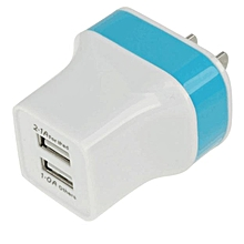 3.1A Dual Port Wall Home Travel AC Charger Adapter For S7 Edge US Plug BU-Blue