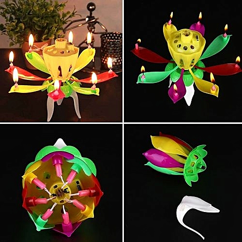 Generic Lotus Candle Lamp Musical Candles For Birthday Cake Party Supply Gift Decoration