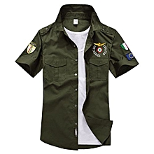 US Air Force Men's Pure Cotton Casual T-Shirt(Color:Army Green)