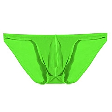 Avidlove Men Brief Breathable Ice Silk Triangle Underpants Solid Brief ( Green )