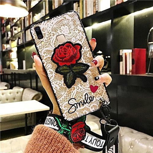 Case For VIVO V9 Girls Black White Lace Rose Flower Embroidery Back Cover +  Lanyards Gif 762065 (White)