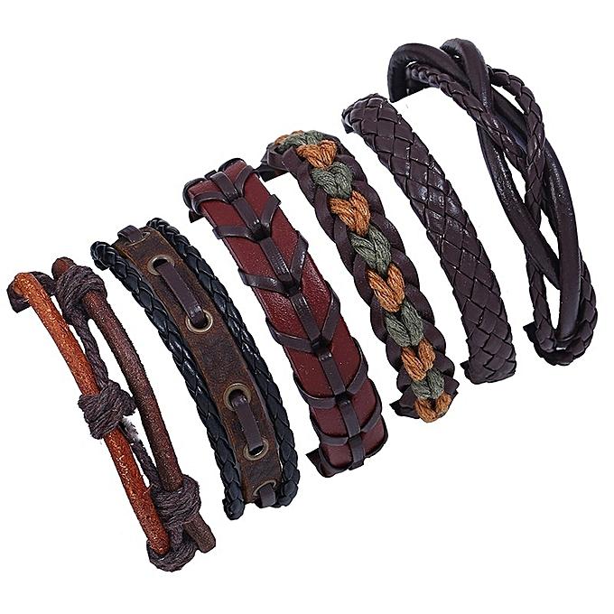 8f3b0df41767c New Stylish 6PCS Retro Knit Cowhide Bracelet DIY Multi-layer Leather  Bracelet