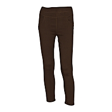 Girls Brown Slim-Fit Stretch Twill Full Length Jeggings