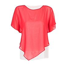 Women Red and White Double Layered Casual Chiffon Blouse