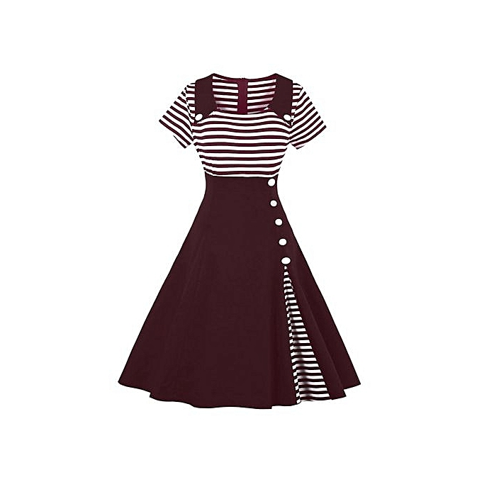Buy Fashion Women Vintage Striped Buttoned Pin Up Dress - Wine Red ...