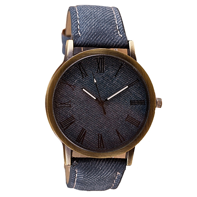 fashion Africashop Watch Retro Vogue WristWatch Cowboy Leather Band Analog Quartz Watch- Navy - Navy