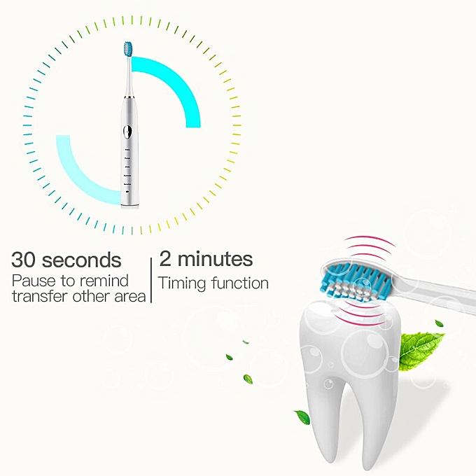 Automatic Sonic Electric Toothbrush Sound Waves Smart Timer Brush Ultimate  Cleaning Whitening Oral Care Washable 4 Brush Heads(Black)