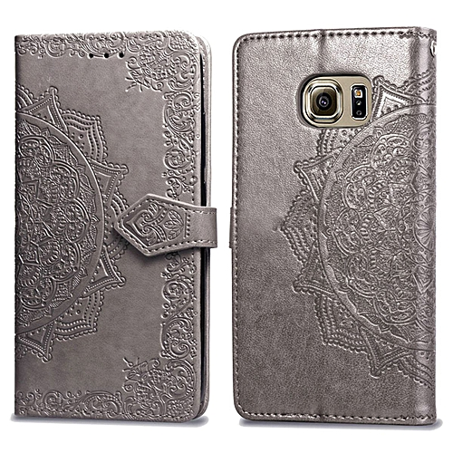 new styles 88b5f b0f13 Galaxy S6 Case,Mandala Embossing PU Leather Magnetic Flip Folio Kickstand  Wallet Case with Card Slots Case for Samsung Galaxy S6 5.1
