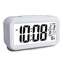 Alarm Clock, Electronic Digital Morning Clock With Large LCD, Backlight, Calendar And Temperature White