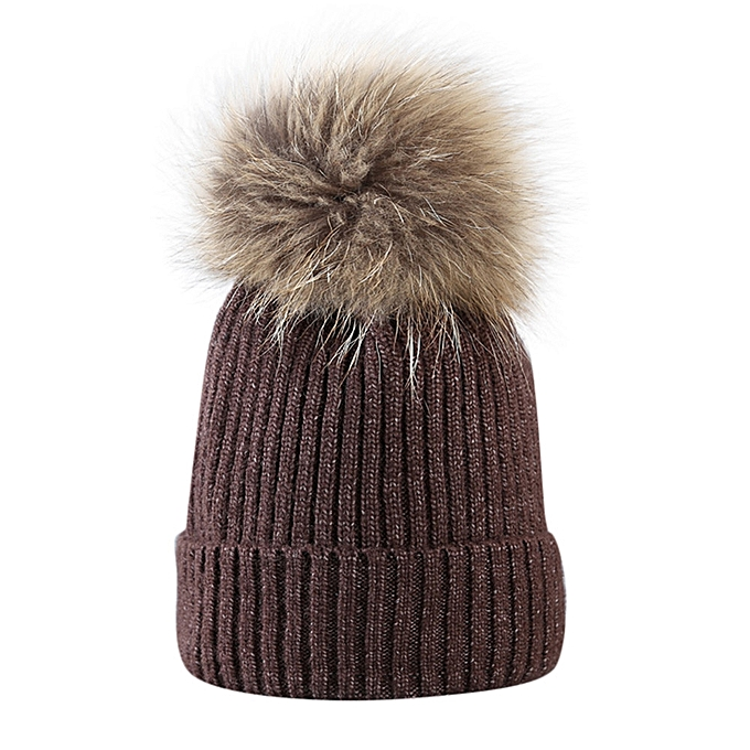 Fur Ball Cap Winter Hat Women Girls Hat Knitted Beanies Cap Thick Female Cap  A 97cdae8c18a