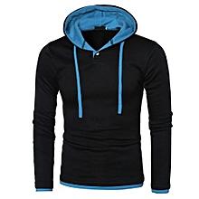Men Long Sleeve Hoodie Warm Hooded Coat Jacket Outwear Sport Tops BU/L-blue