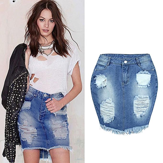 794751bb9 Xiuxingzi_Women Denim Skirt Jeans High Waist Ripped Vintage Skinny Short  Pencil Skirt - Blue - XXL