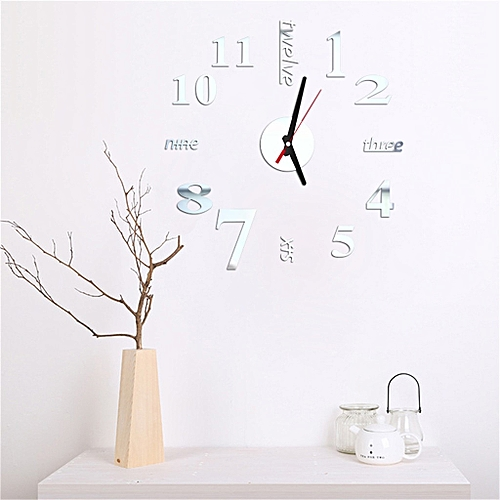 Generic 3d Diy Roman Numbers Acrylic Mirror Wall Sticker Clock Home