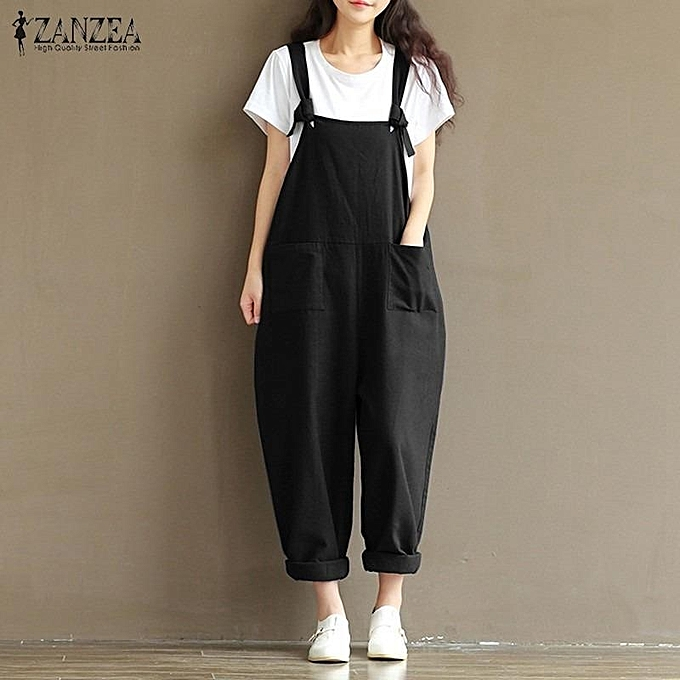 ZANZEA Rompers Womens Jumpsuits Casual Vintage Sleeveless Backless Casual  Loose Solid Overalls Strapless Playsuits Plus Size b9dc52591065