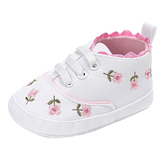 e834b9482adeb6 bluerdream-Newborn Infant Baby Girls Floral Crib Shoes Soft Sole Anti-slip  Sneakers Canvas