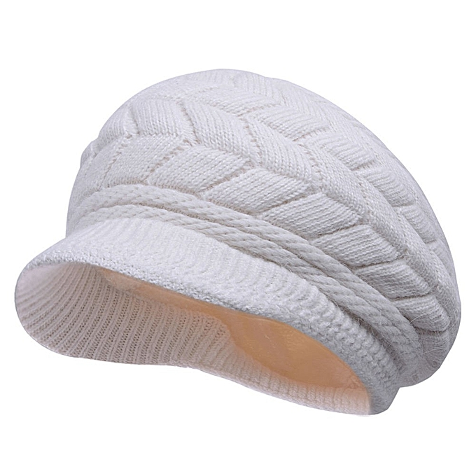2130cc0c94f Women Ladies Crochet Knitted Cotton Blend Beret Hat Soft Warm Plush Linen  Ski Baseball Cap