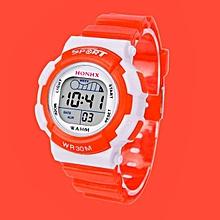 HONHX Africashop Watch  Children Boys Digital LED Sports Watch Kids Alarm Date Waterproof Watch Gift OR-Orange