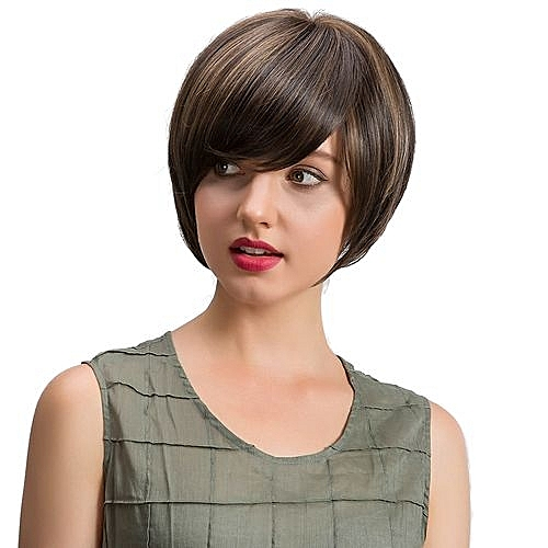 Popfeel Natural Straight Short Hair Fluffy Wigs Short Women s Fashion Wig  New B-Brown 576fc8718816