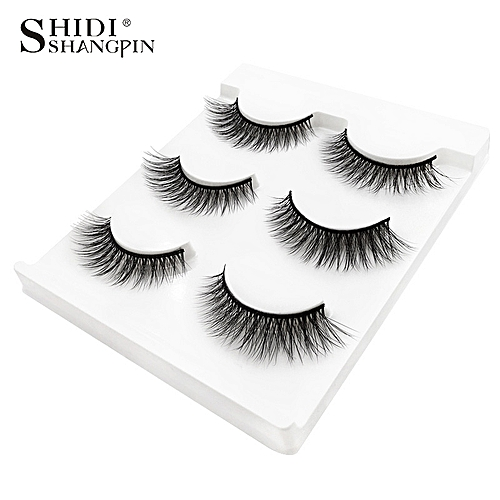 9db1f9651be Generic New 3 pairs natural false eyelashes fake lashes long makeup 3d mink  lashes extension eyemink eyelashes for beauty #X11(X15)