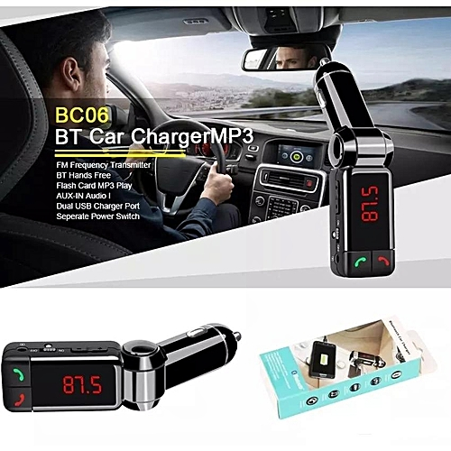 Hot Sale E-SONIC BC06 Bluetooth Car FM Transmitter Car MP3 Player with LED  Display Dual USB 2A Line-in Port Car Charger Black By BDZ
